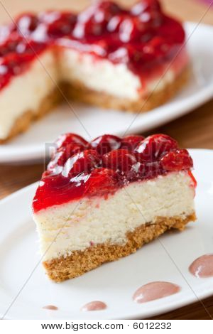Slice Of Delicious Strawberry Cheese Cake