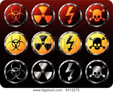 Warning Symbols On Round Shields