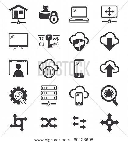 Collection of Network and VPN icons BW