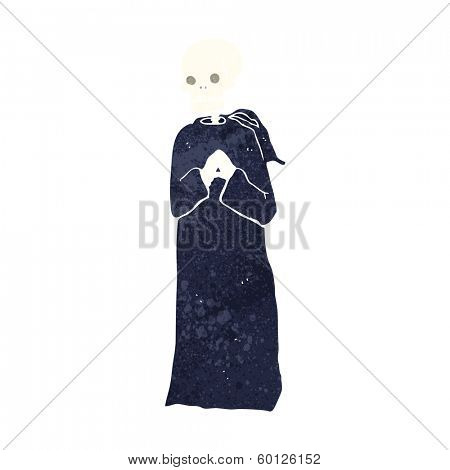 cartoon skeleton in black robe