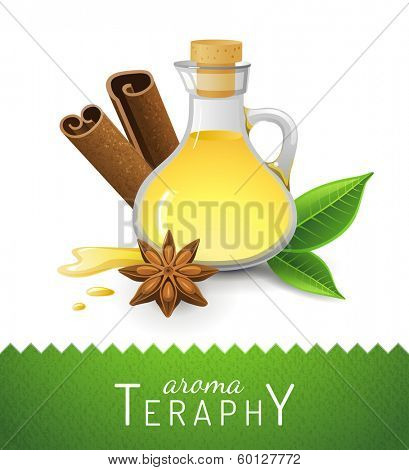Aroma theraphy icon with oil, cinnamon and anise star