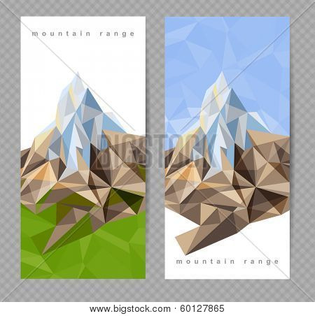 2 banners with mountains