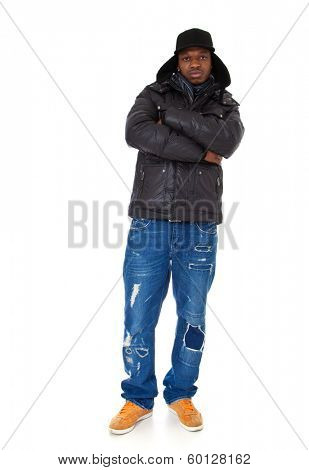 Young black guy in winter clothes