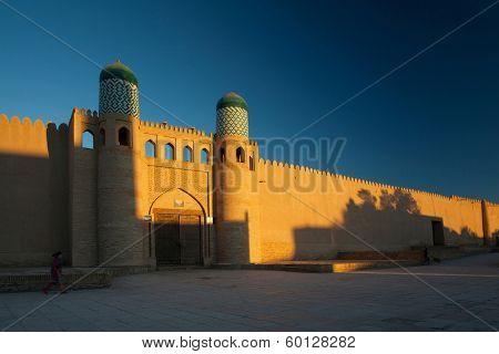 Kohna Ark at sunrise in the ancient city of Itchan Kala, Khiva, Uzbekistan