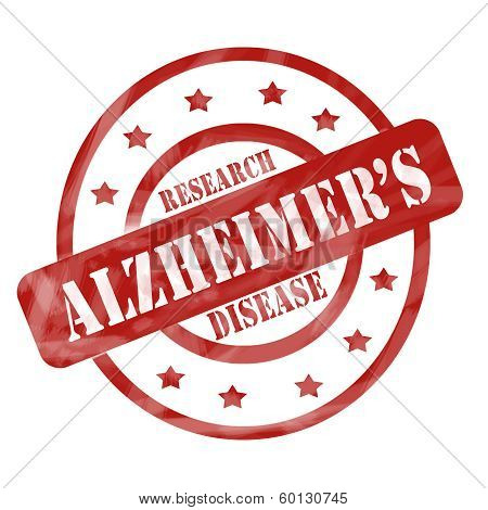 Red Weathered Alzheimer's Disease Research Stamp Circles And Stars