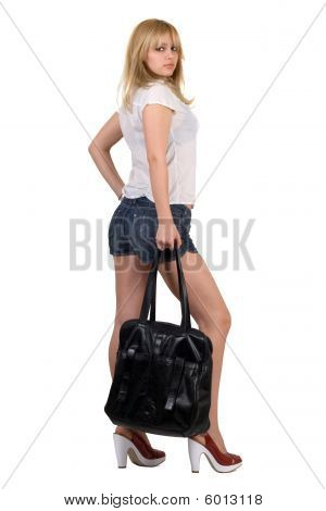 Sexy Girl With A Black Handbag. Isolated