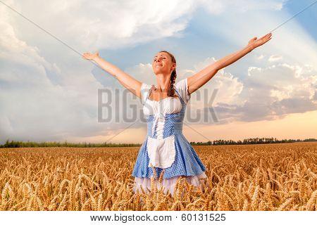 happy female beergarden dirndl wearing girl