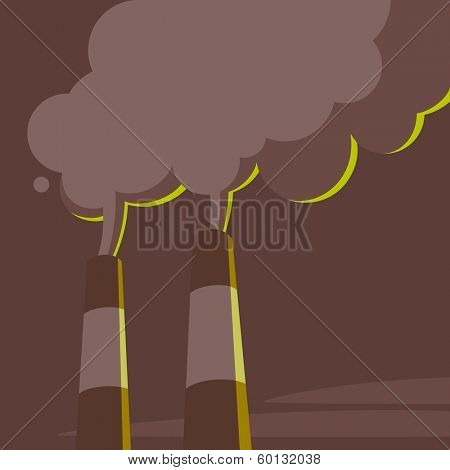 Air pollution. Power station pipes and steam