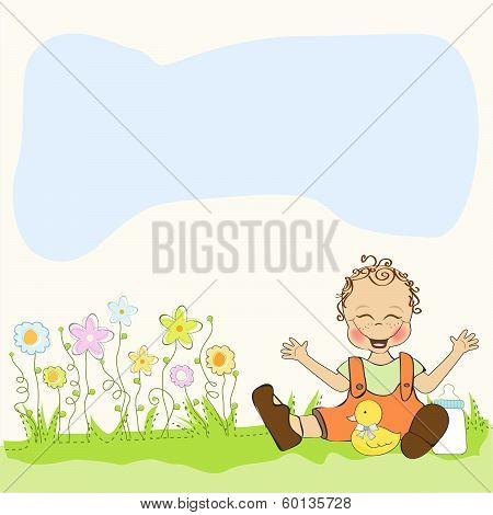 Baby Boy Playing With His Duck Toy, Welcome Baby Card