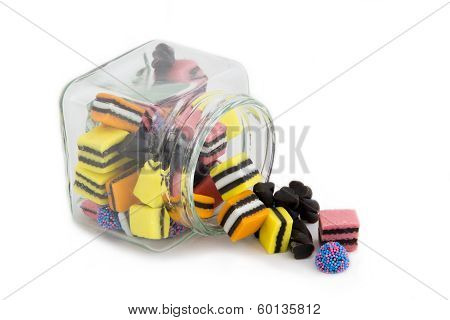 Licorice Allsorts Falling from a Jar