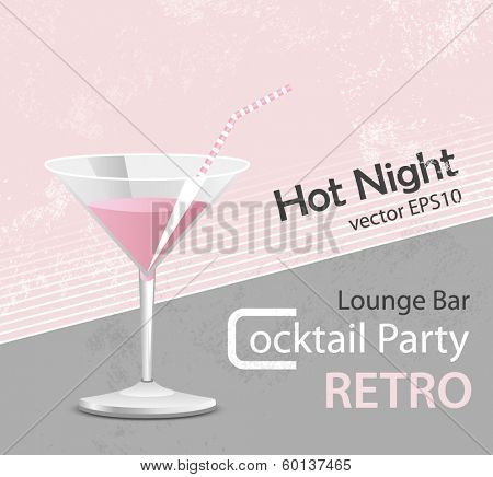 Pink cocktail - vintage poster design
