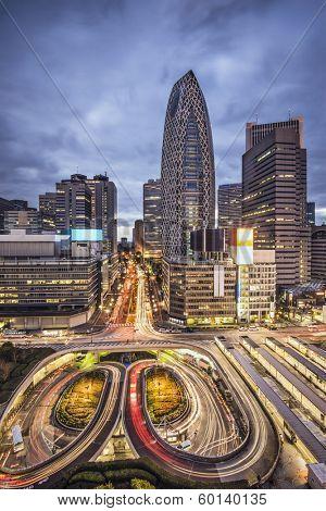 Tokyo, Japan cityscape at Shinjuku skyscraper district.