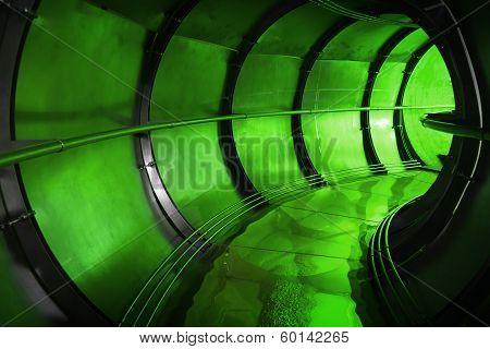 Abstract Green Underground Industrial Sewerage Tunnel Interior