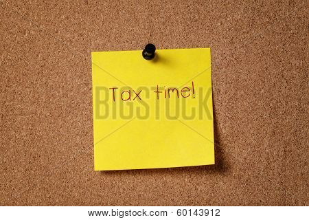 Sticker Note Remind About Tax Time