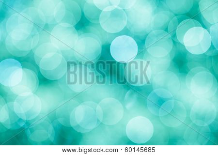 Blue, Green And Turquoise Festive Background With Bokeh Defocused Lights, Vintage Mint Colors
