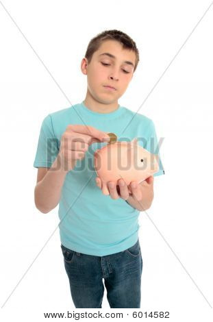 Boy Saving Coins For A Rainy Day