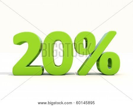 20% Percentage Rate Icon On A White Background
