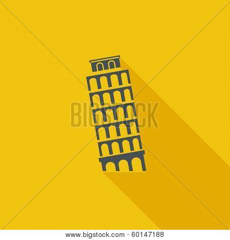 Pisa Tower Flat Icon. Vector Pictogram. EPS 10.