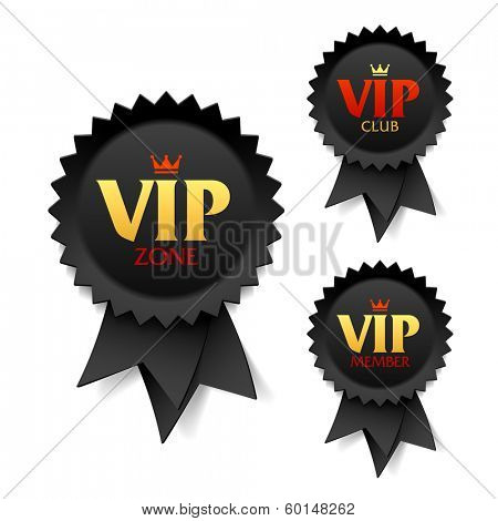 VIP zone, club and member labels. Vector.