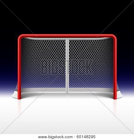 Ice hockey net, goal on black. Vector.