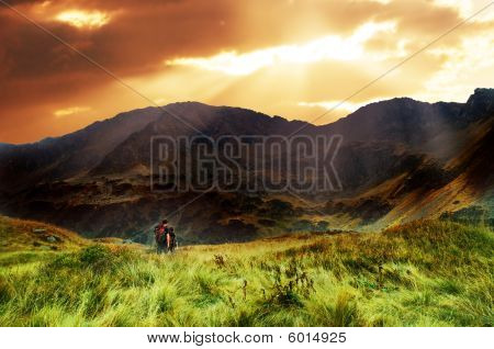 Mountains Sunset Landscape