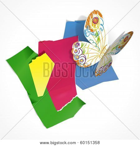 Vector Illustration Of Paper Butterfly