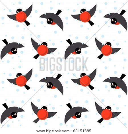 Vector Seamless Ornament Bullfinches