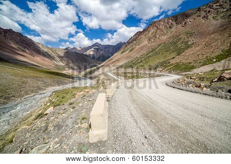 Mountain road going from Barskoon pass