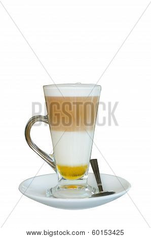 Cup Of Cappuchino Coffee Isolated On White