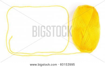 yarn skein of yellow color on white background