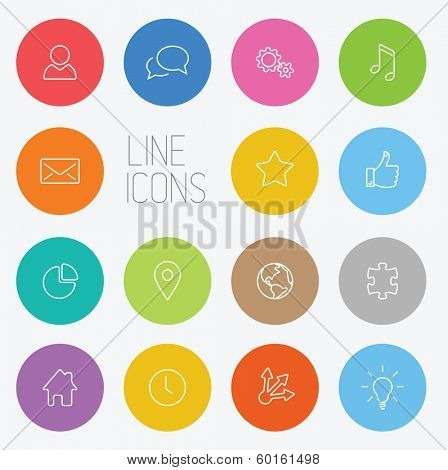 Vector Modern circle thin line icon collection