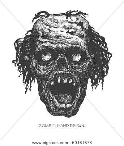 zombie head. hand drawn. vector eps8