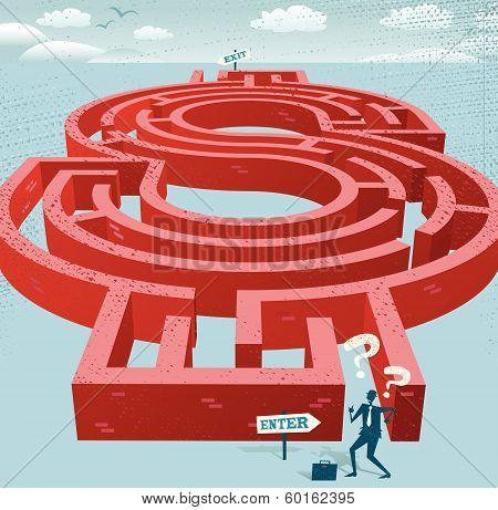 Businessman enters a Dollar Maze.