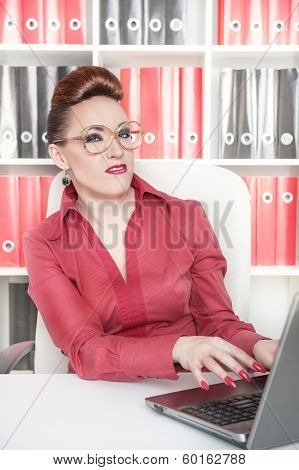 Business Woman With A Suspicious Expression