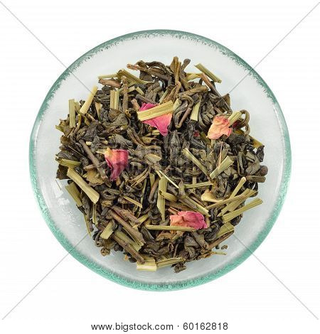 Green Tea With Lemon Grass And Rose Petals.