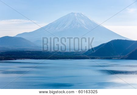 Mountain Fuji fujisan with Motosu lake at Yamanashi Japan