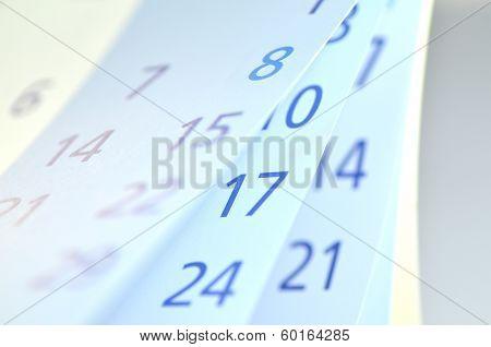 closeup of calendar pages