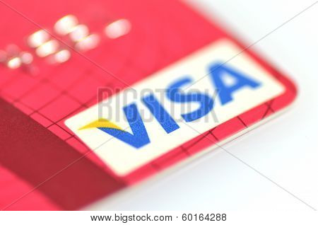 Closeup of VISA credit card isolated on white background
