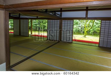 Characteristic Interior Of A Japanese Temple,  Kyoto, Japan