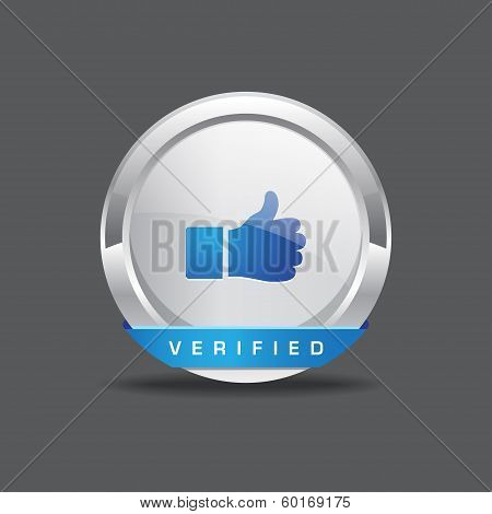Verified Thumbs Up Vector Button Icon