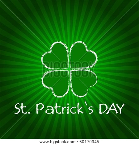 St. Patrick's Day With Green Shamrock And Rays