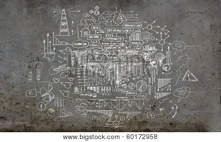 Business ideas and sketch on cement wall