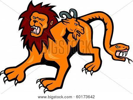 Chimera Attacking Front Cartoon