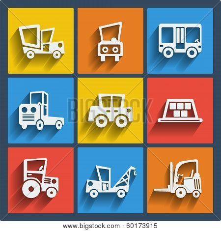 Set of 9 cars vector web and mobile icons