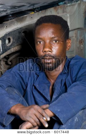 Portrait of african mechanic