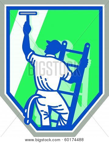 Window Cleaner Worker Shield Retro