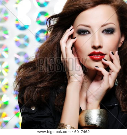 Woman With Bright Fashion Eye Make-up