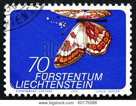 LIECHTENSTEIN - CIRCA 1974: a stamp printed in the Liechtenstein shows Cynthia's Fritillary, Euphydryas Cynthia, Butterfly, circa 1974
