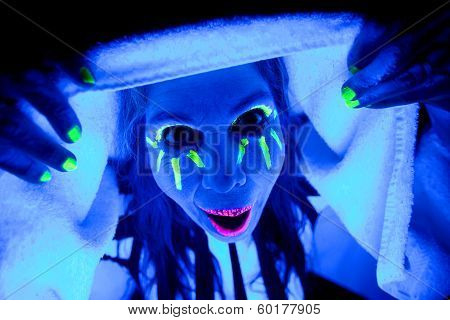 Woman Black Light Hands On Towel