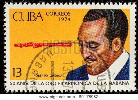 CUBA - CIRCA 1974: A stamp printed in the Cuba, shows the portrait of a musician - Roberto Ondina, circa 1974